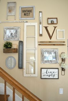 Farmhouse style gallery wall created with vintage finds!