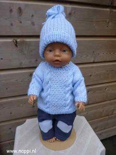 BabyBorn Boy 43cm: jongenskleding | Nappi.nl aangepast patroon van de Breikraam