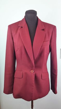 Moda International Blazer Size 6 Burgundy Red Longsleeve Suit Jacket Work Career #ModaInternational #blazerorjacket #Business