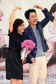 장현성(Jang Hyun-sung) and 장영남 (Jang Yeong-nam) at the 'Goddess of Marriage' press conference (2013)