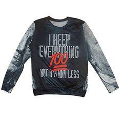 CHIC Women Men 100 Emoji Hoodies Pullover Sweatshirt 3D Clothing T Shirt (XL)