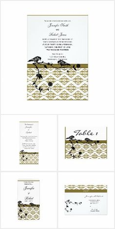 Gold Damask with Black Vine and Birds Wedding Invitation Set, Wedding Invitations, Bright White Background, Damask Wedding, Pretty Birds, Gold Stripes, Wedding Suits, Vines, Reception