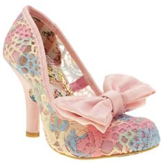 One Of Our Favourite Irregular Choice Heels The Mal E Bow Crochet Arrives In A Fabulous Pastel Multi Coloured Colourway With Pink And Heel Detailing