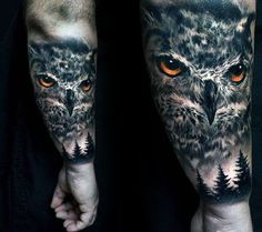 Pine Trees And Owl With Orange Eyes Guys Realistic Outer Forearm Tattoo