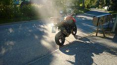 My KTM 1190 Adventure's morning smoke.