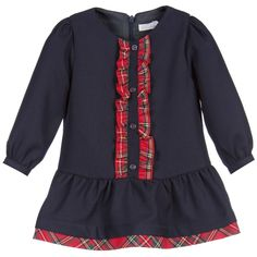 Baby Girls Navy Blue Dress with Tartan Trim , Patachou, Girl