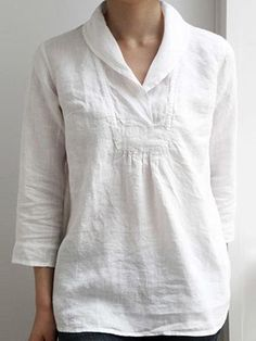 4 Sleeve Simple & Basic Shirts & Tops is part of Linen dresses - 4 Sleeve Simple & Basic Blouses online Discover unique designers fashion at momolic com Sewing Blouses, Cotton Blouses, Cotton Linen, Linen Tunic, Linen Tops, Blouse En Lin, Summer Tunics, Collar Blouse, Collar Shirts