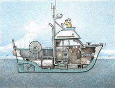 Boat Building Plans, Boat Plans, Floating Boat Docks, Wooden Speed Boats, Great Lakes Ships, Boat Illustration, Boat Drawing, Fishing Vessel, Below Deck