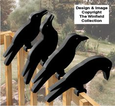 All Yard Shadows - Crow Shadow Rail Sitters Pattern Wood Yard Art, Fence Art, Diy Home Crafts, Wood Crafts, Winfield Collection, Wood Craft Patterns, Bois Diy, Wood Carving Designs, Wood Animal