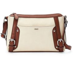 Chaps Amelia Crossbody Bag ($29) ❤ liked on Polyvore featuring bags, handbags, shoulder bags, white, vegan handbags, hand bags, white purse, white shoulder bag and handbags crossbody