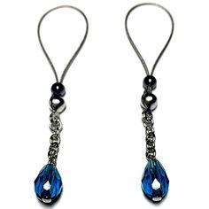 Nipple Jewelry Noose Faceted Teardrop Lake Blue #nipplerings #nipples #nipplenoose #bodivas