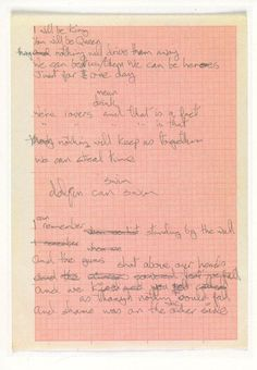 The original lyrics for Heroes - David Bowie,1977