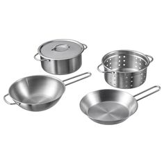 DUKTIG toy cookware set - stainless steel color - IKEA Mini cookware for play. Made of durable material and stainless steel. Encourages role play which helps children to develop social s Kitchen Utensil Set, Mini Kitchen, Toy Kitchen, Ikea Kitchen, Cast Iron Cookware, Cookware Set, Articles Pour Enfants, Ikea Duktig, Coping Skills