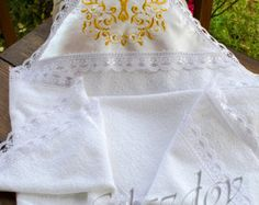 Embroidered baptism towel by GLAZDOV on Etsy