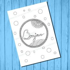 Adult coloring page Bonjour doodle instant download by olyadesign