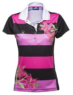 Priscilla Cap/S Polo. This ladies caps sleeve polo is a classic and sporty wide stripe polo with an extra added fun floral design.  The polo is made with quick dry single jersey and lots of technical stretch. #golf #fashion #sale