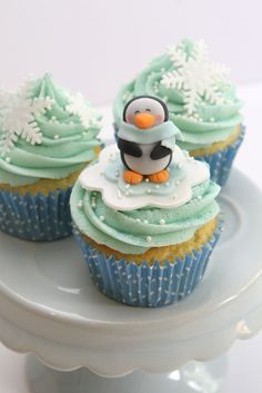 set of cupcakes for an ice-skating party, where the brief was girly and pretty. Had to include the cute little penguins inspired by Cotton Candy bakeshop! Ice Skating Cake, Ice Skating Party, Skate Party, Penguin Birthday, Penguin Party, 8th Birthday, Birthday Ideas, Christmas Brunch, Christmas Cupcakes