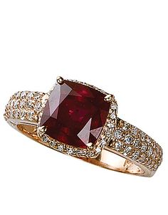 14 Kt. Rose Gold Ruby & Diamond Ring! #lordandtaylor #jewelry #ring