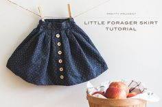 Sewing Skirts Little Forager Skirt Tutorial Little Girl Skirts, Baby Girl Skirts, Skirts For Kids, Baby Skirt, Mini Skirt, Sewing For Kids, Baby Sewing, Toddler Sewing Patterns, Baby Clothes Patterns