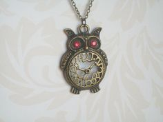 Bronze Owl Necklace Red Eyed Owl Clock Necklace by JypsyJewels
