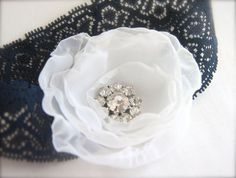 Flower Lace Garter, Something Blue, Organza Flower, Rhinestones Navy Blue stretch lace band Bridal Garter. $38.00, via Etsy.