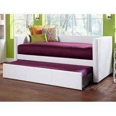 $700 Fashion Bed Group - Euro Twin Upholstered Daybed with Trundle in White