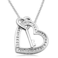 Sterling Silver Diamond Heart and Key Pendant Necklace