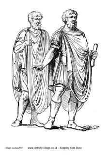 Ancient Greece coloring pages Costume History: short hair, himation, chlamys, greaves Thalamos