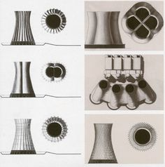 CLAUDE PARENT: The Supermodernist – (RIP) | Drawings for nuclear power pant cooling towers, 1975.