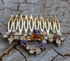 Vintage Purple Rhinestone Hair Comb- Bridal , Wedding, Prom, Pageant on Etsy, $60.00
