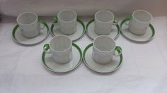 ***SOLD***$43.50--Vintage Rosenthal Studio Line Linie Tea Cup Demitasse Saucer Lime Green Sunion Polygon, Coffee Cup Saucer, TeaCup Set of 6 Germany by JunkYardBlonde on Etsy