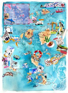 Cyclades Islands Map Ilustration