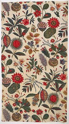 visual-me:  Textile, ca. 1796French cottonblock-printed: black, 2 reds; other colors applied by brush