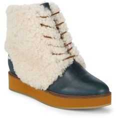 Australian Luxe Collective Women's Bundaburg Shearling Ankle Boots -... ($200) ❤ liked on Polyvore featuring shoes, boots, ankle booties, no color, lace-up platform boots, lace up platform booties, platform ankle boots, platform bootie and platform booties