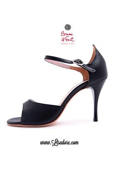 Perfect Elegant Black Leather High Heel Dancing Shoes by Comme il Faut for Tango, Salsa and Bachata. Find them at Lisadore.com