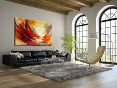 Sunrise modern painting illuminating the room by Miri Lavee. For the painting in my Etsy shop, Click on the photo or copy the link: https://www.etsy.com/MiriLaveeArt/listing/271256678/listing Also available as a fine art print, here: https://www.etsy.com/MiriLaveeArt/listing/241036573/listing #modernpainting #moderndesign #abstractart  #abstractwallart #modernhomedecor #homedecor #livingroom #livingroomdecor #livingroomdesign #mirilavee