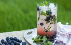 Blueberry Lemonade Herb Punch // What kind of spirit would you add to this? #summer #drink #recipe