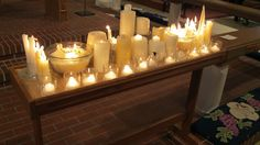 *all saints space* Here is another idea of using a candle table for All Saints Sunday. Saint Candles, Church Candles, Altar Design, Prayer Stations, All Souls Day, Church Stage, All Saints Day, Altar Decorations, Church Banners