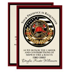Firefighter Retirement / Recognition Invitation volunteer firefighter, firefighter care package, firefighters gifts #fireservice #fireunion #fireengineer, back to school, aesthetic wallpaper, y2k fashion Zazzle Invitations, Party Invitations, Ems, Fire Fighter Cake, Fire Department, Department Store, Ink Color, Paper Design, Printing Process