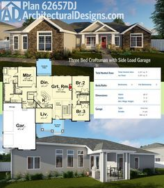 Architectural Designs House Plan 62657DJ gives you 3 beds and a side load garage and over 2,200 square feet of living all on one floor. Ready when you are. Where do YOU want to build?
