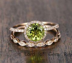 $629 Round Peridot Engagement Ring Sets Pave Diamond Wedding 14K Yellow Gold 7mm