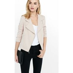 Express Light Mink Textured Knit Moto Jacket ($108) ❤ liked on Polyvore featuring outerwear, jackets, pink, pink jacket, biker jacket, floral jacket, pink straight jacket and mink pink jacket