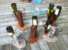 Bed springs and pallet wine rack by http://www.creekwalkerart.com