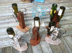 Bed springs and pallet wine rack by http://www.creekwalkerart.com