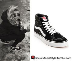 Buy Chloe Grace Moretz Black and White High-Top Sneakers, here!