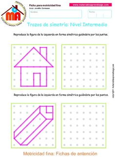 06 Trazos de simetría - Intermedio.pdf - OneDrive Symmetry Activities, Visual Perceptual Activities, Fun Activities For Kids, Worksheets For Kids, Geo Board, Phonics Rules, Math Patterns, Graph Paper Art, Art Lessons For Kids