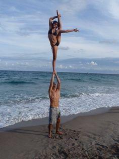 on the beach, bow and arrow, #cheer, stunt, cheerleader, cheerleading  #KyFun