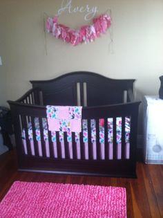 Crib set Crib Bedding Baby Bedding - Bumper upgrade/sheet/adjustable skirt- Elephant Walk Crib Set hot pink chevron