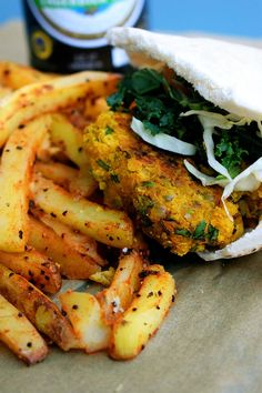 masala chickpea burger served with homemade fries