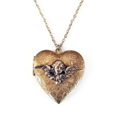 Cupid Heart Gold Locket - Embossed Metal Sweetheart Jewelry Locket Necklace Vintage Locket Gifts for Girlfriend Love Friendship Jewelry by zephyrvintage on Etsy